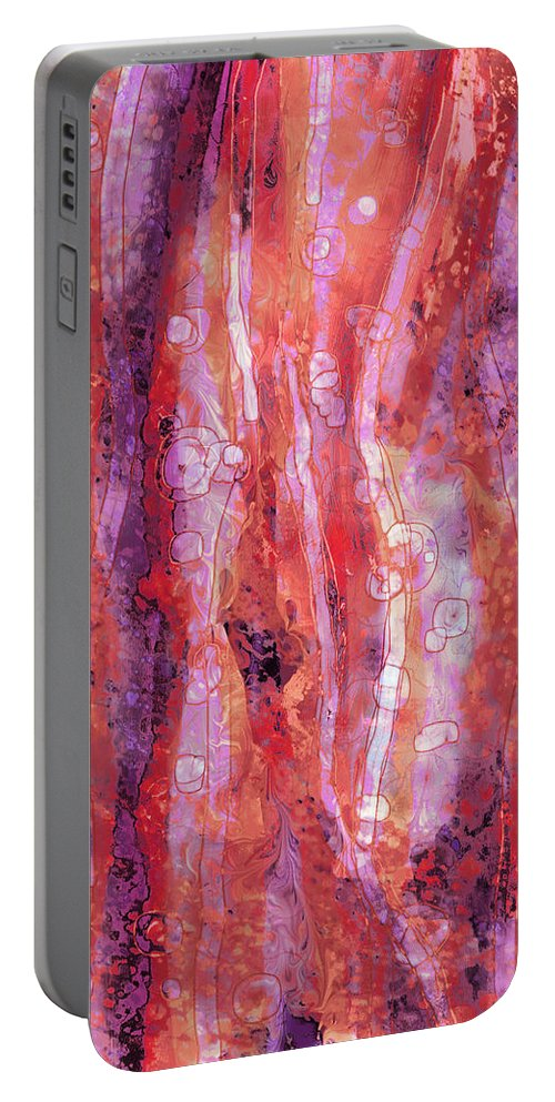 Abstract Portable Battery Charger featuring the digital art Traces by Rachel Christine Nowicki