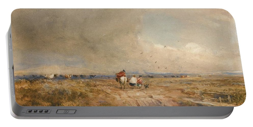 David Cox Portable Battery Charger featuring the painting Track On A Windy Day by MotionAge Designs