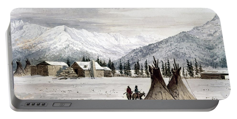 1860 Portable Battery Charger featuring the painting Trading Outpost, C1860 by Granger