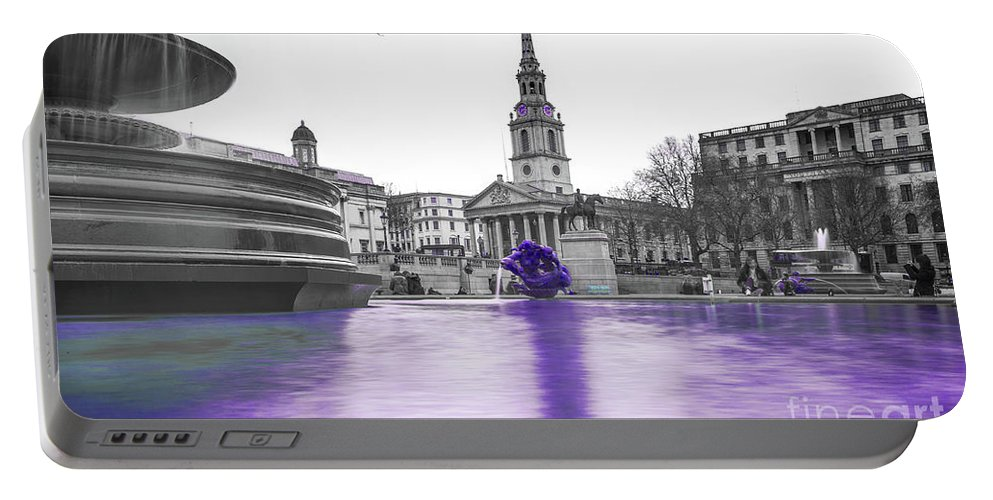 Street Artist Portable Battery Charger featuring the photograph Trafalgar Square Fountain London 3g by Alex Art and Photo