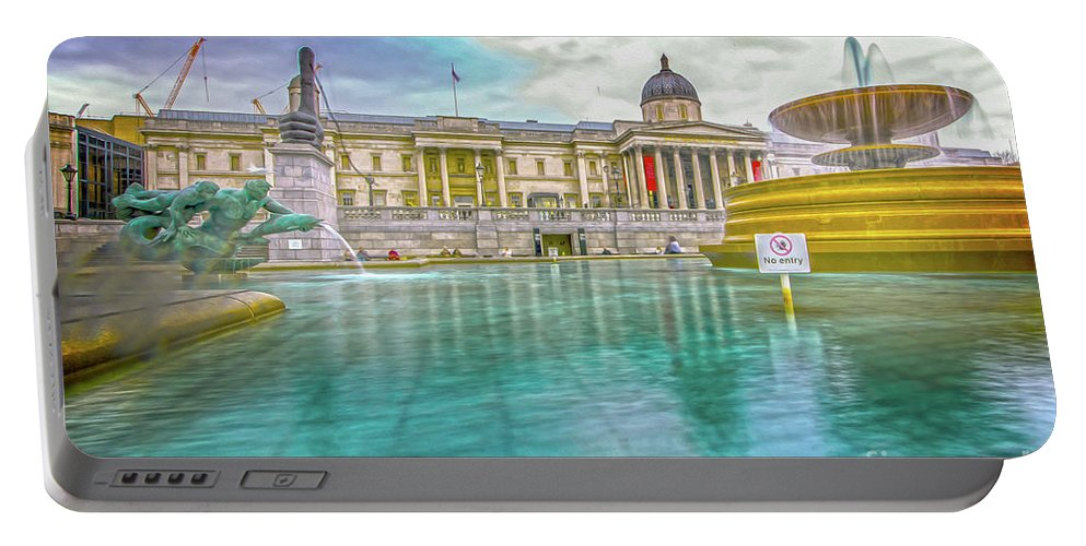 Street Artist Portable Battery Charger featuring the photograph Trafalgar Square Fountain London 4 by Alex Art and Photo