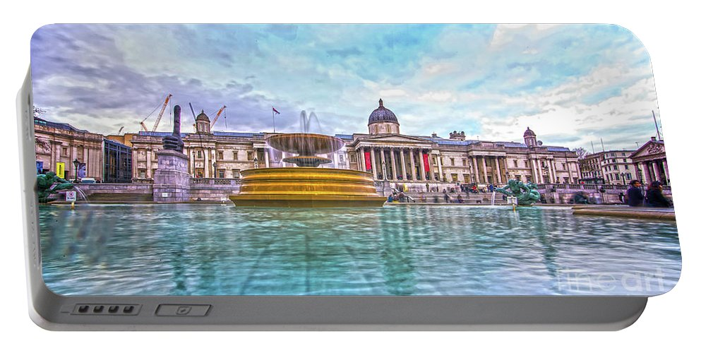 Street Artist Portable Battery Charger featuring the photograph Trafalgar Square Fountain London 8 by Alex Art and Photo