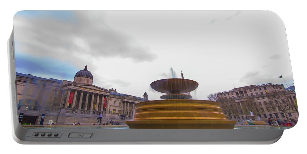 Street Artist Portable Battery Charger featuring the photograph Trafalgar Square Fountain London 9 by Alex Art and Photo