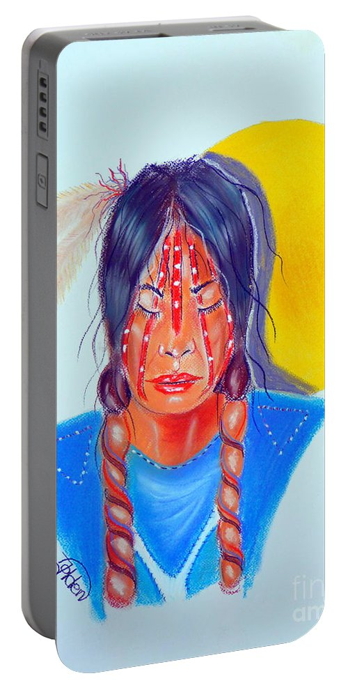 native American Portable Battery Charger featuring the pastel Trail Of Tears by Jo Hoden