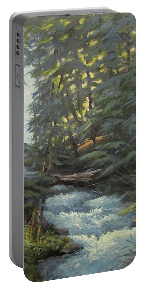 Waterfall Portable Battery Charger featuring the painting Trail To The Falls by Karen Ilari