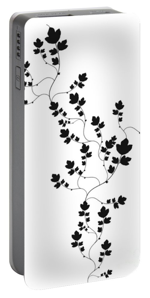 Black And White Portable Battery Charger featuring the drawing Trailing Leaves by Writermore Arts
