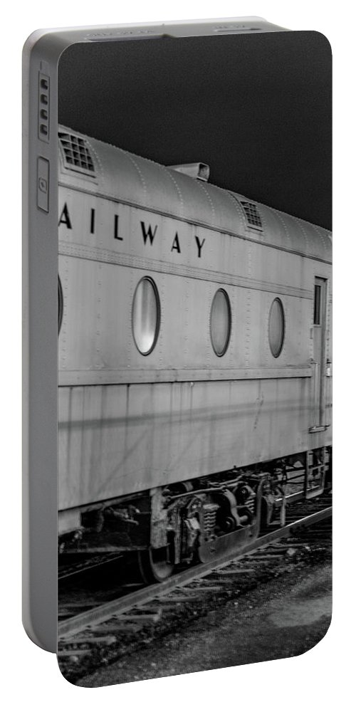 Train Portable Battery Charger featuring the photograph Train Car, Black And White by Steven Jones
