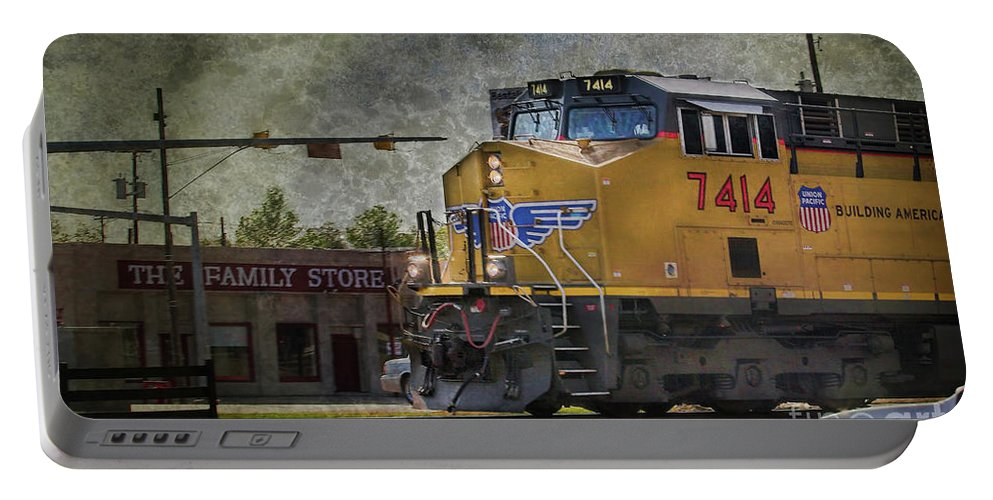 Train Portable Battery Charger featuring the photograph Train Coming Through by Joan Bertucci