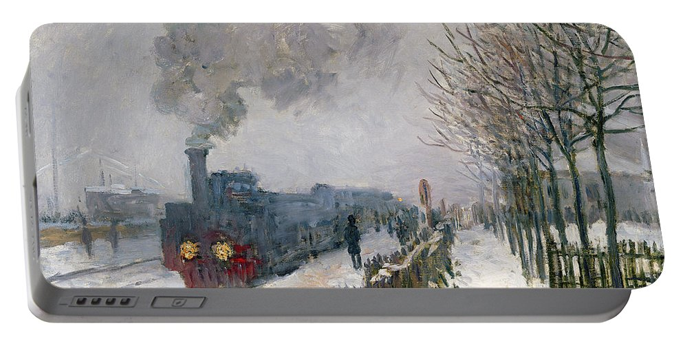 Train Portable Battery Charger featuring the painting Train In The Snow Or The Locomotive by Claude Monet
