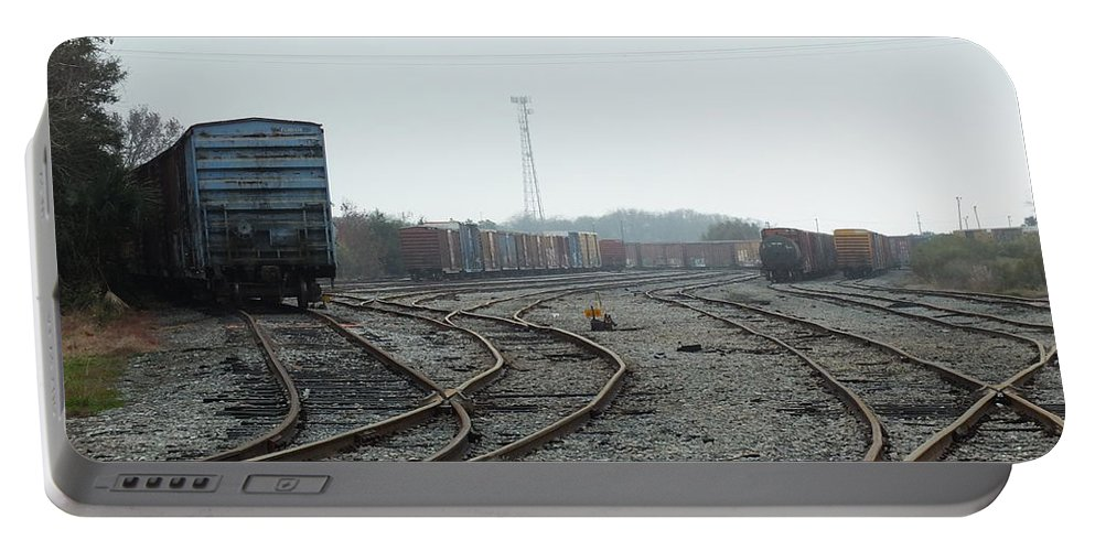 Train Rail Road Tracks Portable Battery Charger featuring the photograph Train On Tracks by Susan Junkins