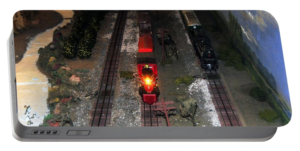Train Portable Battery Charger featuring the photograph Train Set by David Lee Thompson