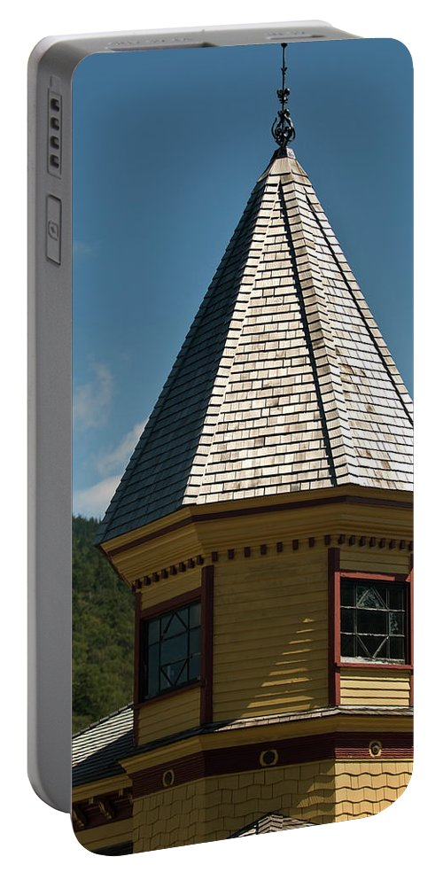 conway Scenic Railway Portable Battery Charger featuring the photograph Train Station Spire by Paul Mangold