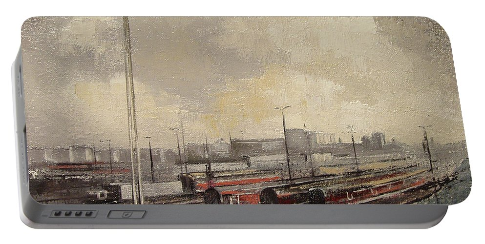 Train Portable Battery Charger featuring the painting Train station by Tomas Castano