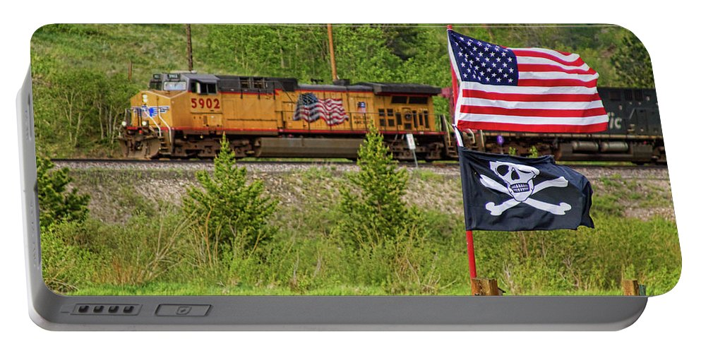 Trains Portable Battery Charger featuring the photograph Train The Flags by James BO Insogna