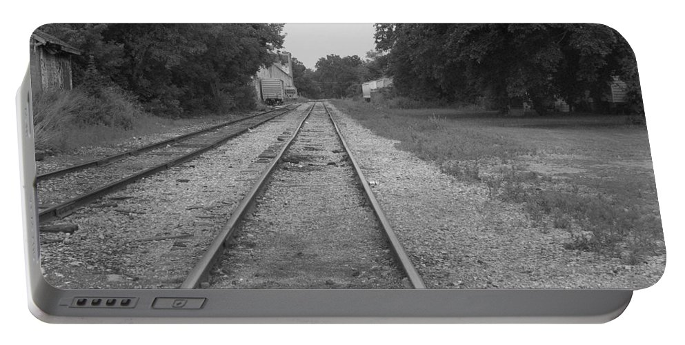Train Portable Battery Charger featuring the photograph Train To Nowhere by Rhonda Barrett