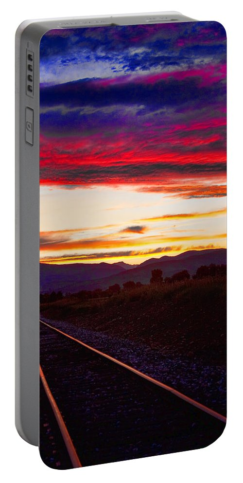 Train Tracks Portable Battery Charger featuring the photograph Train Track Sunset by James BO Insogna