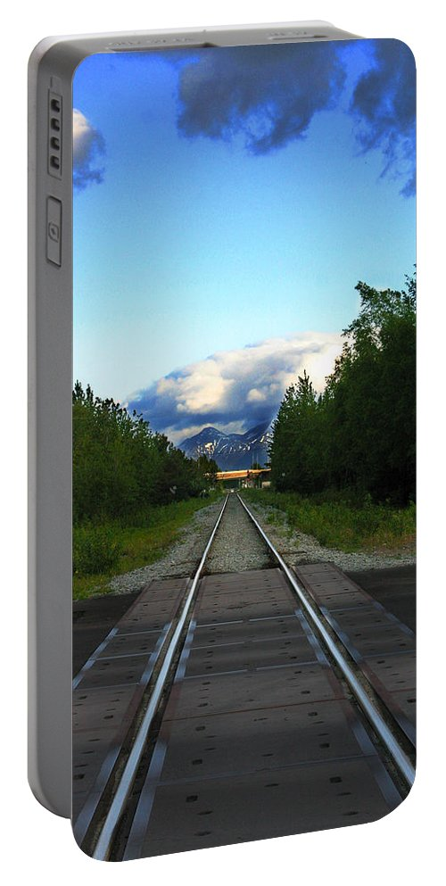 Train Portable Battery Charger featuring the photograph Train Tracks Anchorage Alaska by Anthony Jones