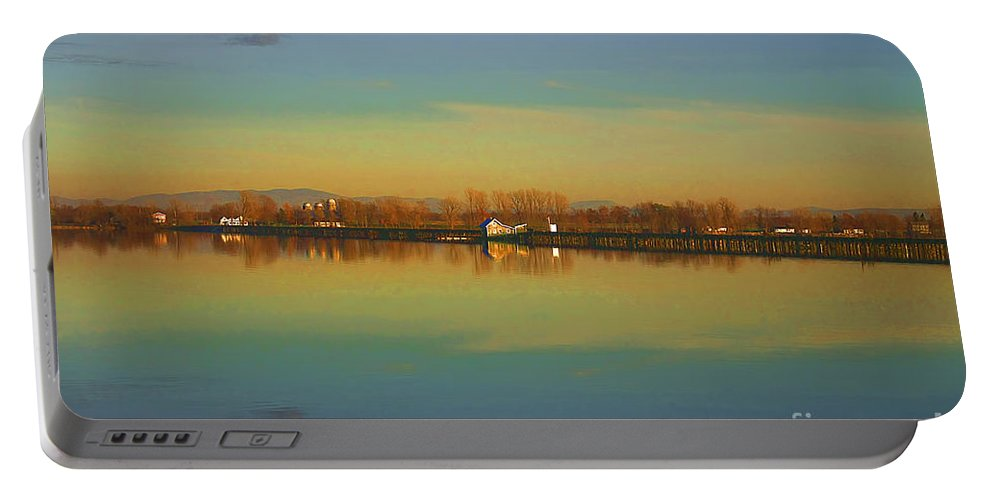 Lake Champlain Portable Battery Charger featuring the photograph Train Trestle On Lake Champlain by Deborah Benoit