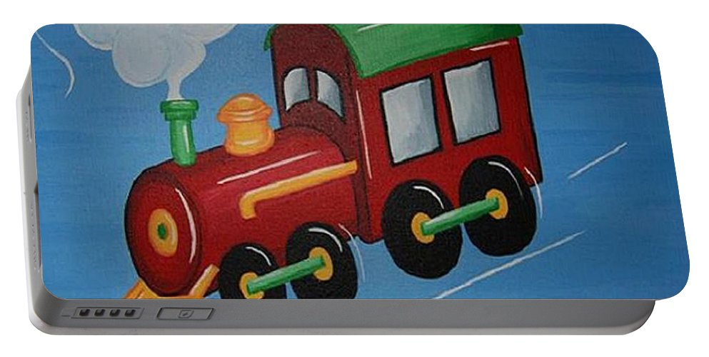 Train Portable Battery Charger featuring the painting Train by Valerie Carpenter