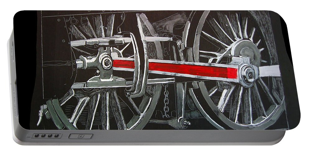 Trains Portable Battery Charger featuring the painting Train Wheels 4 by Richard Le Page