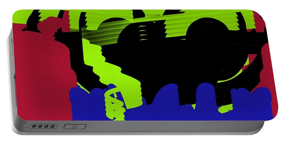 Abstract Portable Battery Charger featuring the digital art Train by Yilmar Henry