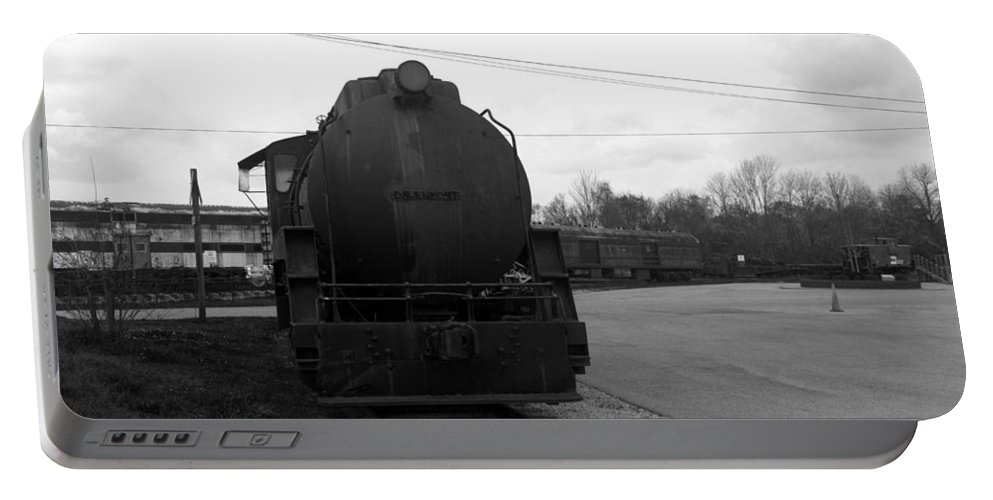 Train Portable Battery Charger featuring the photograph Trains 3 Blkwht by Jay Mann