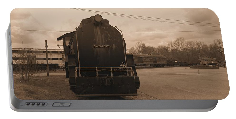 Train Portable Battery Charger featuring the photograph Trains 3 Sepia by Jay Mann