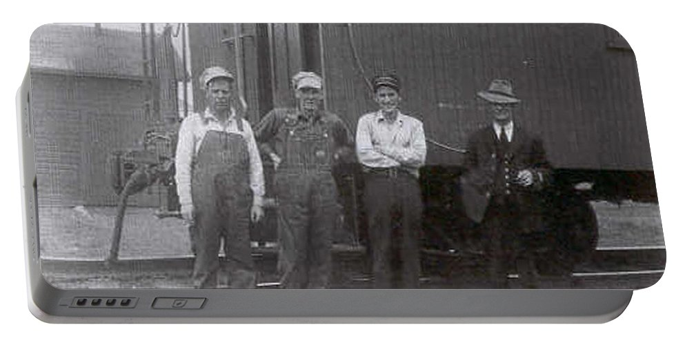 Old Photo Black And White Classic Saskatchewan Pioneers History Train Railway Workers Portable Battery Charger featuring the photograph Trainsmen by Andrea Lawrence