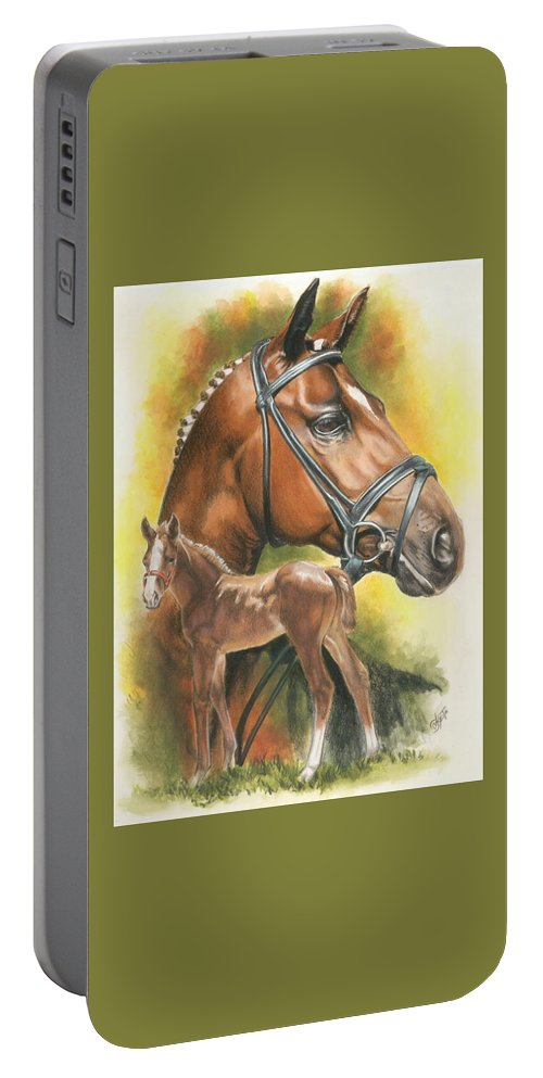 Jumper Hunter Portable Battery Charger featuring the mixed media Trakehner by Barbara Keith