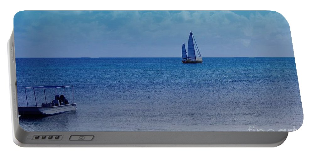 Water Portable Battery Charger featuring the photograph Tranquil Blue by Debbi Granruth