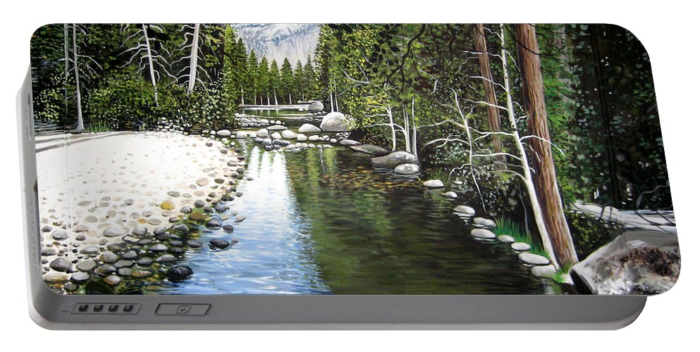 Trees Portable Battery Charger featuring the painting Tranquil Forest by Elizabeth Robinette Tyndall