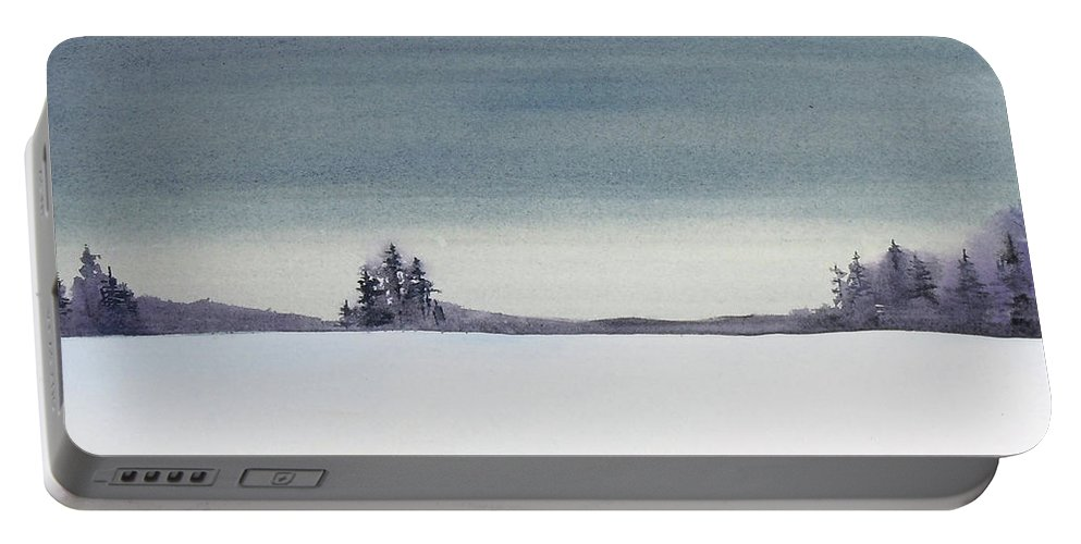 Landscape Portable Battery Charger featuring the painting Tranquil Night by Renee Chastant