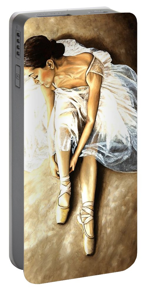 Ballet Portable Battery Charger featuring the painting Tranquil Preparation by Richard Young