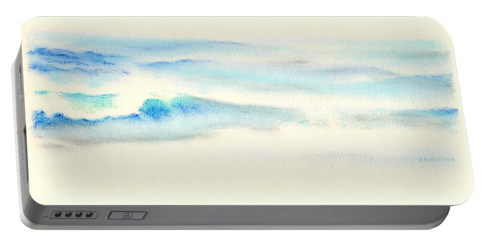 Seascape Portable Battery Charger featuring the painting Tranquil Sea by Scott Kirkman