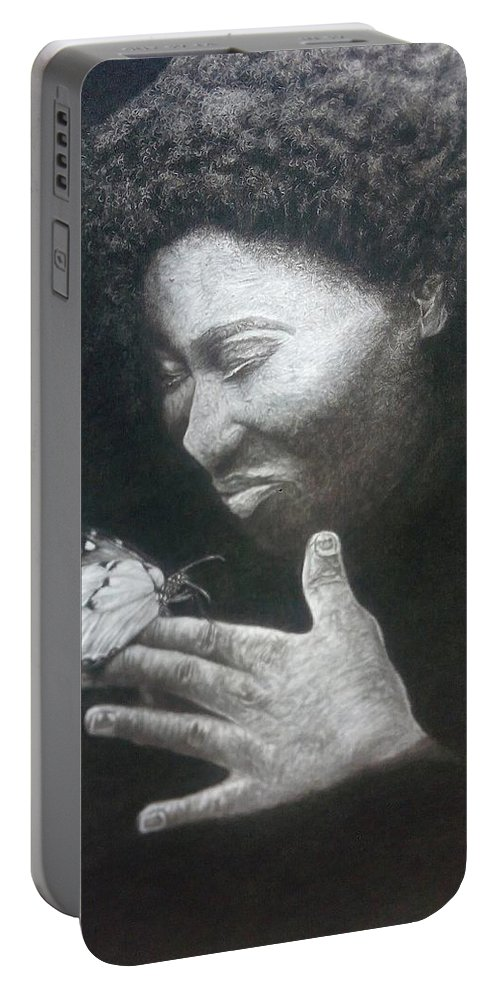 Figure Portable Battery Charger featuring the drawing Tranquility by Abu Mutaka