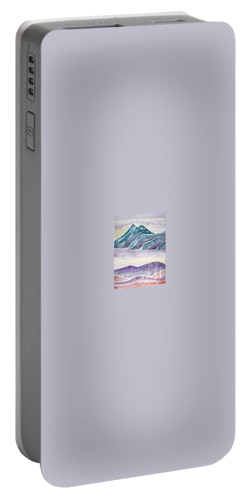 Watercolor Portable Battery Charger featuring the painting Tranquility Landscape Mountain Surreal Modern Fine Art Print by Derek Mccrea