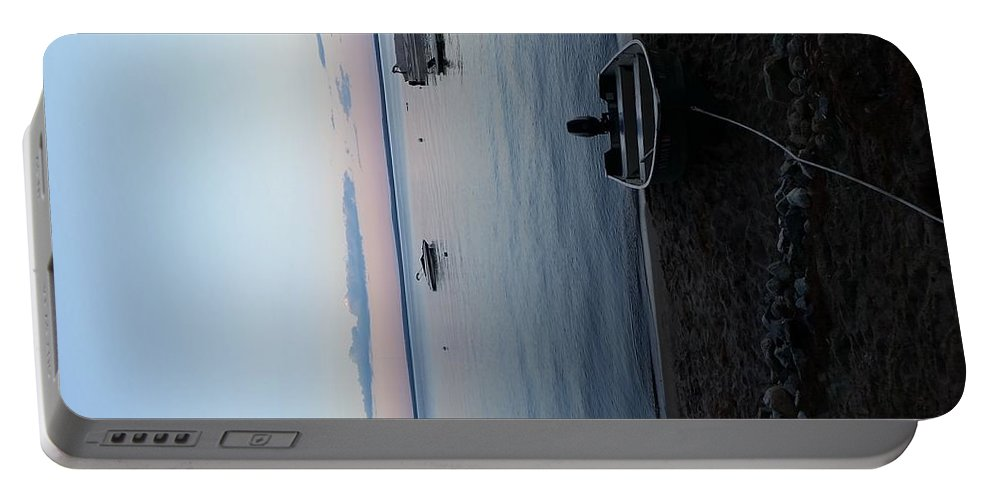 Sunset On Sebago Lake Maine Portable Battery Charger featuring the photograph Tranquility On Sebago by Kelley Holland