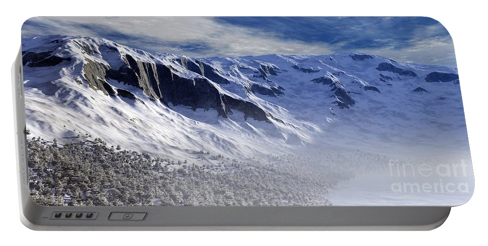 Mountains Portable Battery Charger featuring the digital art Tranquility by Richard Rizzo