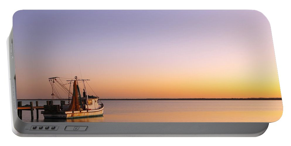 Texas City Portable Battery Charger featuring the photograph Shrimp Trawler At Dusk 2am-109249 by Andrew McInnes