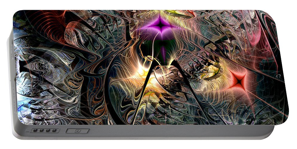 Abstract Portable Battery Charger featuring the digital art Transcendence In Retrograde by Casey Kotas