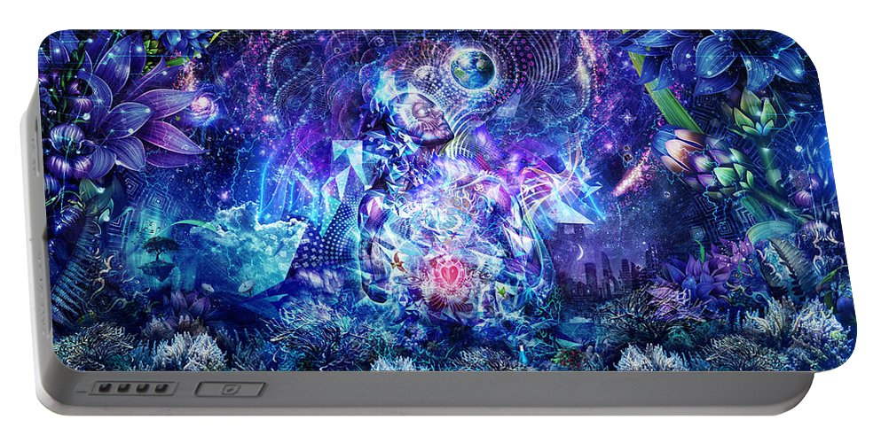 Blue Portable Battery Charger featuring the digital art Transcension by Cameron Gray