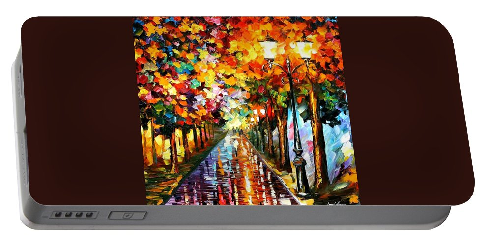 Afremov Portable Battery Charger featuring the painting Transformation Of The Night by Leonid Afremov