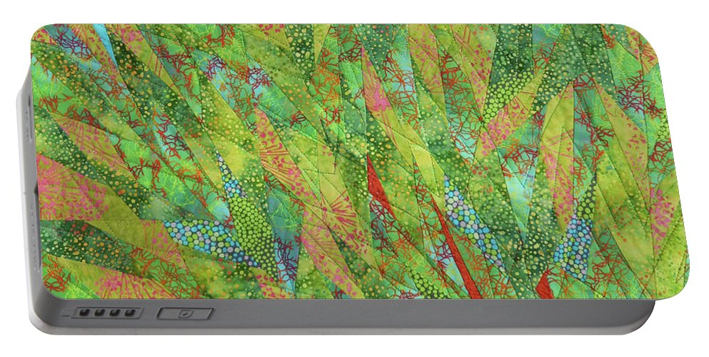 Tree Portable Battery Charger featuring the tapestry - textile Transitions 2 by Linda Beach