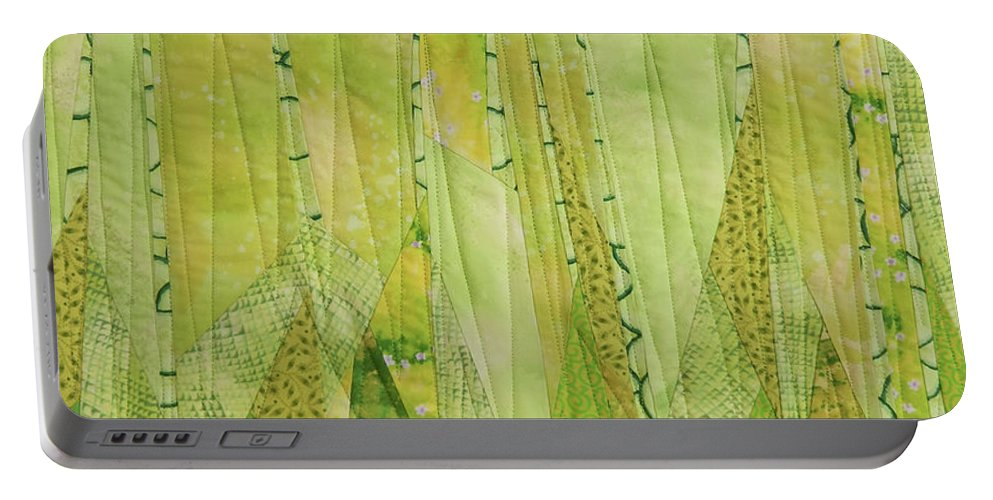 Tree Portable Battery Charger featuring the tapestry - textile Transitions 3 by Linda Beach