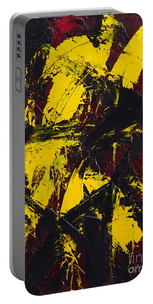 Abstract Portable Battery Charger featuring the painting Transitions With Yelllow And Black by Dean Triolo