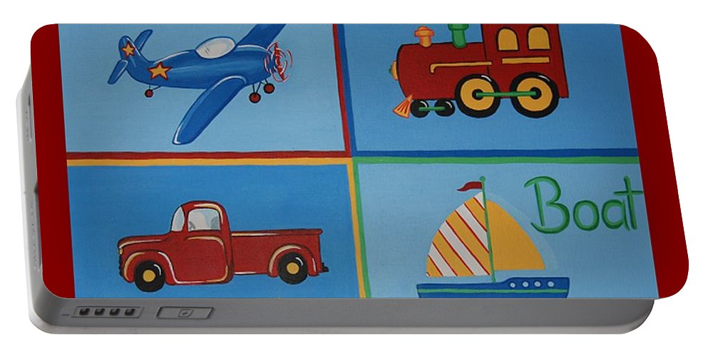 Plane Portable Battery Charger featuring the painting Transportation Modes by Valerie Carpenter