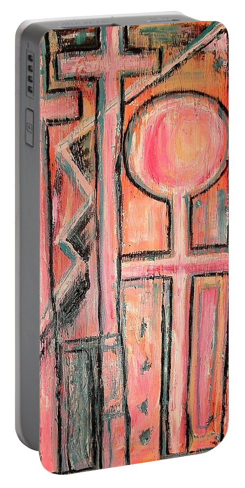 Cross Portable Battery Charger featuring the painting Trappings Of Love Abstract Art Painting by Kathy Augustine