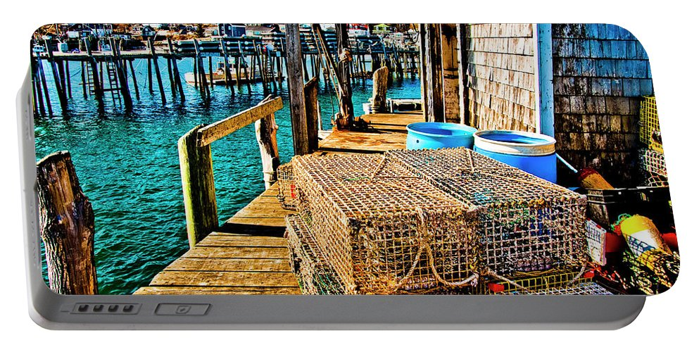 Stonington Maine Portable Battery Charger featuring the photograph Traps R Us by Jeff Cooper