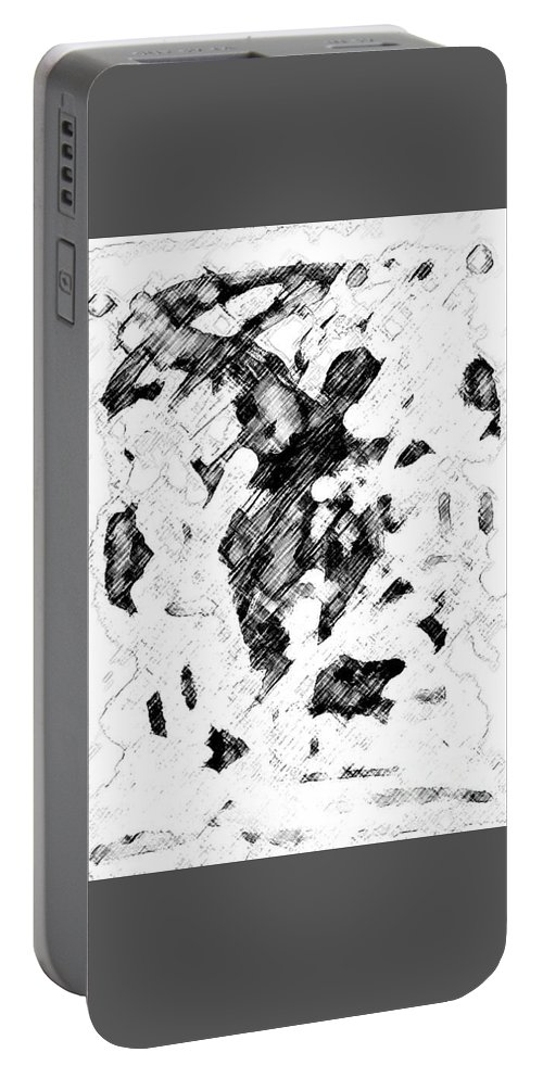 Abstract Portable Battery Charger featuring the digital art #trauma by Kisha Taylor