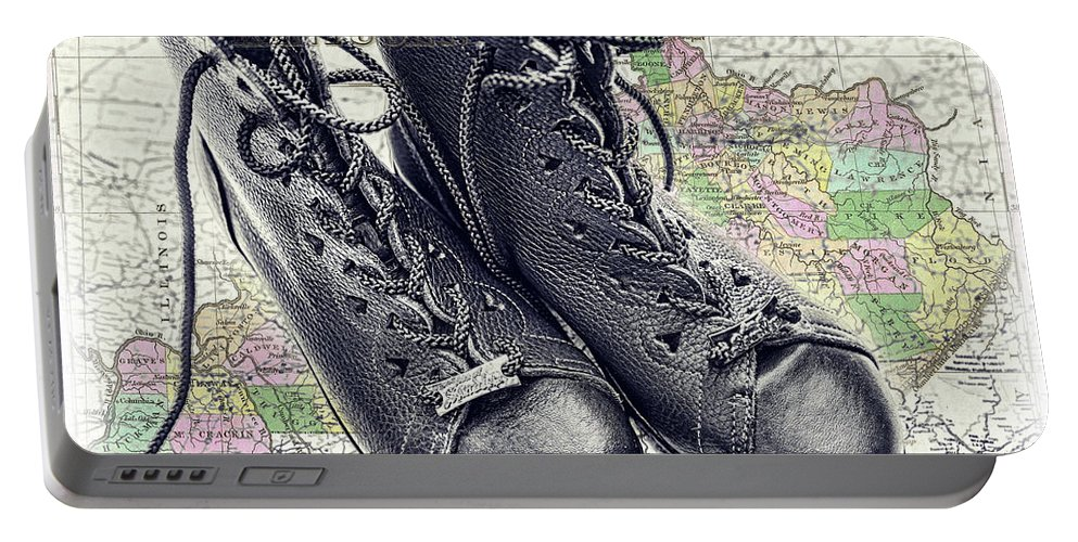 Boots Portable Battery Charger featuring the photograph Traveling Boots Kentucky by Sharon Popek